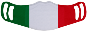 A washable and reusable polyester Italian Flag printed cloth face mask with two ear holes by each side